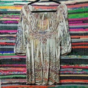 Stretchy Boho Peasent  Blouse